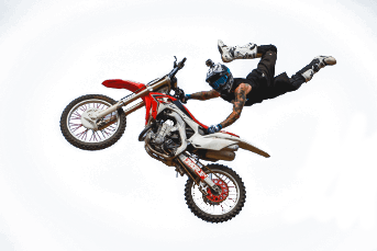 Motorcrosser sprong